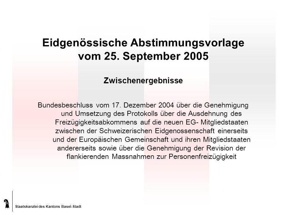 Staatskanzlei des Kantons Basel-Stadt Eidgenössische Abstimmungsvorlage vom 25.