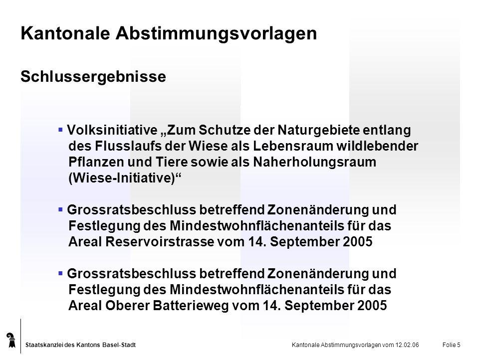 Staatskanzlei des Kantons Basel-Stadt Kantonale Abstimmungsvorlagen vom 12.02.06Folie 6 Schlussergebnisse Wiese-Initiative