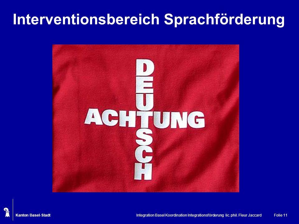 Kanton Basel-Stadt Integration Basel Koordination Integrationsförderung lic. phil. Fleur JaccardFolie 11 Interventionsbereich Sprachförderung