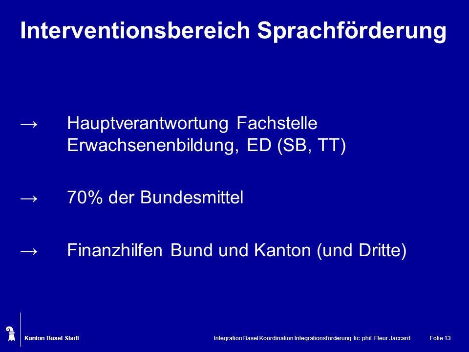 Kanton Basel-Stadt Integration Basel Koordination Integrationsförderung lic. phil. Fleur JaccardFolie 13 Interventionsbereich Sprachförderung Hauptver
