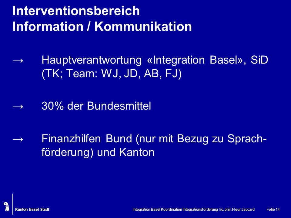 Kanton Basel-Stadt Integration Basel Koordination Integrationsförderung lic. phil. Fleur JaccardFolie 14 Interventionsbereich Information / Kommunikat