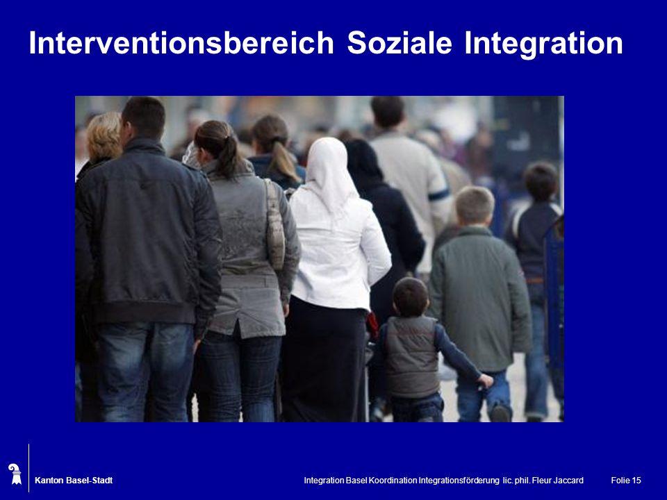 Kanton Basel-Stadt Integration Basel Koordination Integrationsförderung lic. phil. Fleur JaccardFolie 15 Interventionsbereich Soziale Integration
