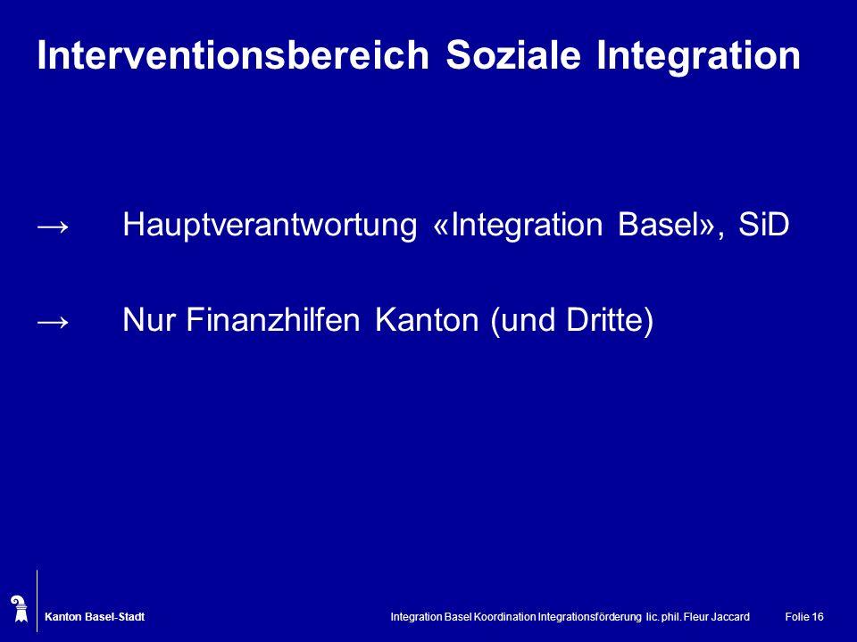 Kanton Basel-Stadt Integration Basel Koordination Integrationsförderung lic. phil. Fleur JaccardFolie 16 Interventionsbereich Soziale Integration Haup