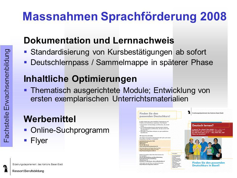 Ressort Berufsbildung Erziehungsdepartement des Kantons Basel-Stadt Amt für Berufsbildung und Berufsberatung 19.05.2014 Massnahmen Sprachförderung 200