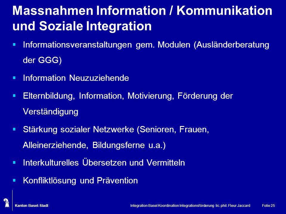 Kanton Basel-Stadt Integration Basel Koordination Integrationsförderung lic. phil. Fleur JaccardFolie 25 Massnahmen Information / Kommunikation und So
