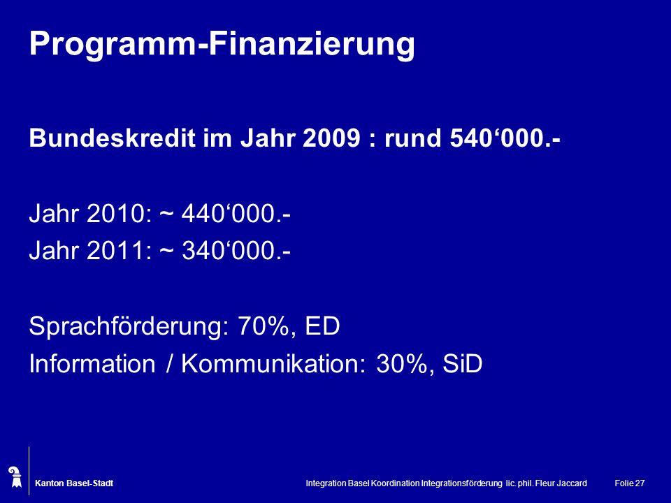 Kanton Basel-Stadt Integration Basel Koordination Integrationsförderung lic. phil. Fleur JaccardFolie 27 Programm-Finanzierung Bundeskredit im Jahr 20