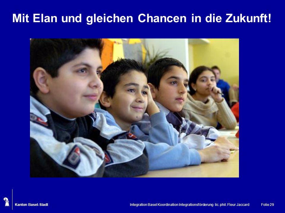 Kanton Basel-Stadt Integration Basel Koordination Integrationsförderung lic. phil. Fleur JaccardFolie 29 Mit Elan und gleichen Chancen in die Zukunft!