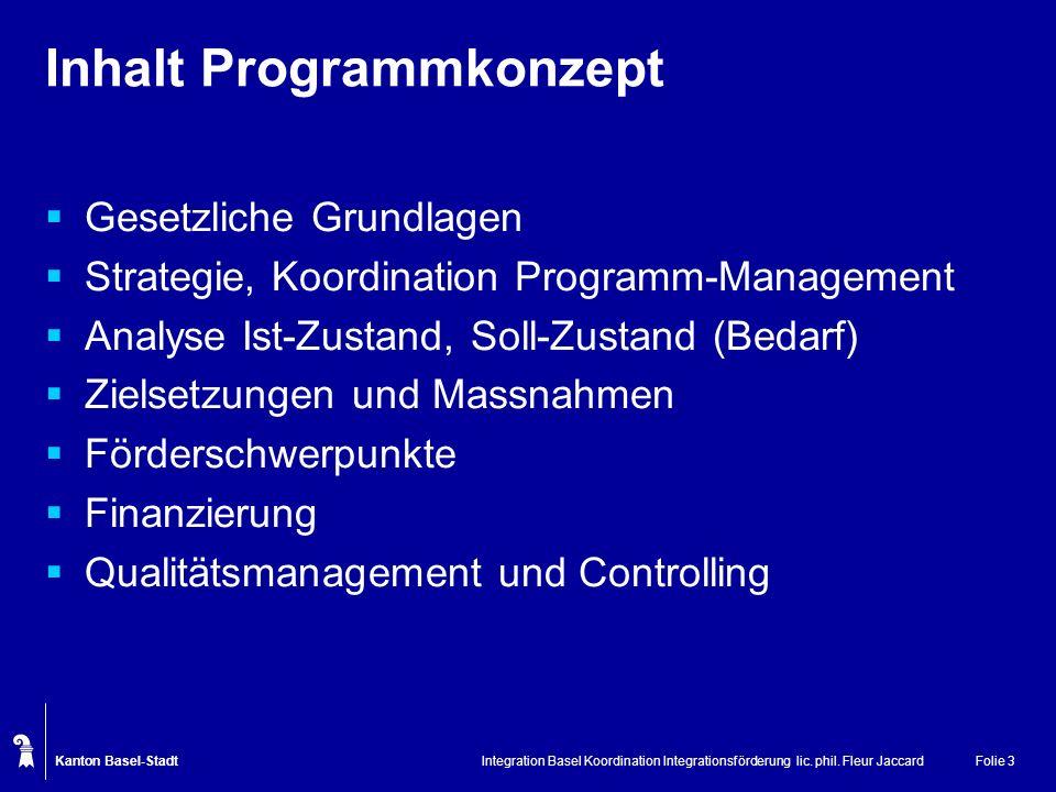 Kanton Basel-Stadt Integration Basel Koordination Integrationsförderung lic. phil. Fleur JaccardFolie 3 Inhalt Programmkonzept Gesetzliche Grundlagen