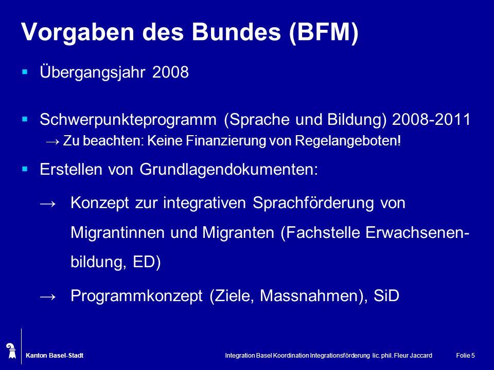 Kanton Basel-Stadt Integration Basel Koordination Integrationsförderung lic. phil. Fleur JaccardFolie 5 Vorgaben des Bundes (BFM) Übergangsjahr 2008 S