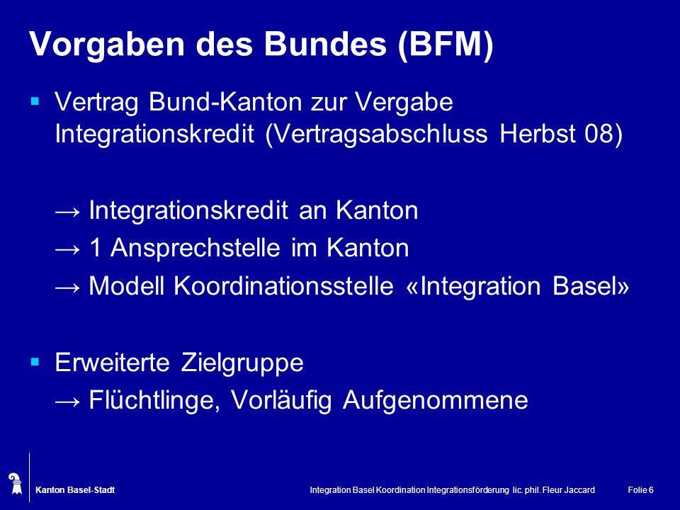 Kanton Basel-Stadt Integration Basel Koordination Integrationsförderung lic. phil. Fleur JaccardFolie 6 Vorgaben des Bundes (BFM) Vertrag Bund-Kanton