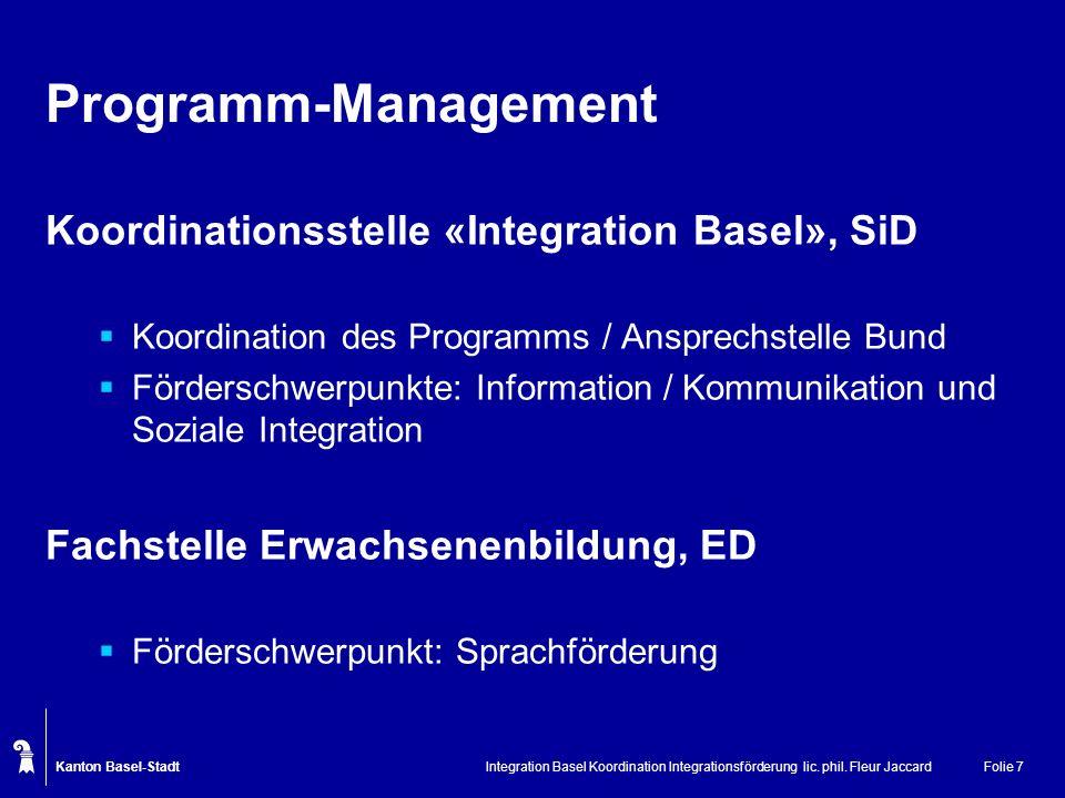 Kanton Basel-Stadt Integration Basel Koordination Integrationsförderung lic. phil. Fleur JaccardFolie 7 Programm-Management Koordinationsstelle «Integ