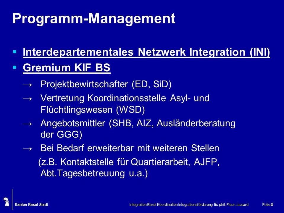 Kanton Basel-Stadt Integration Basel Koordination Integrationsförderung lic. phil. Fleur JaccardFolie 8 Programm-Management Interdepartementales Netzw