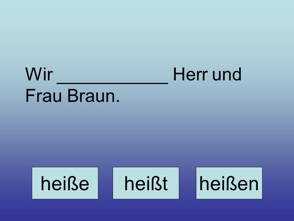 Wir ___________ Herr und Frau Braun. heißeheißtheißen