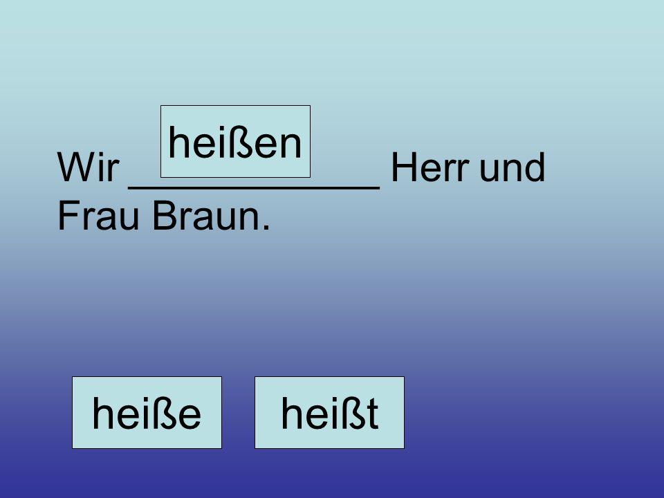 Wir ___________ Herr und Frau Braun. heißeheißt heißen