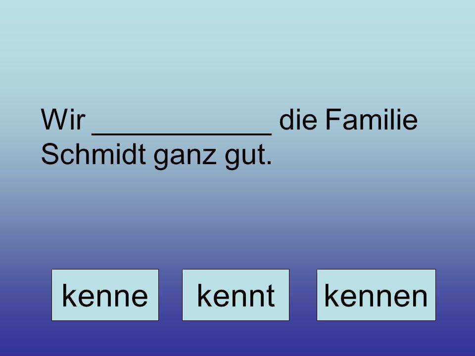 Wir ___________ die Familie Schmidt ganz gut. kennekenntkennen