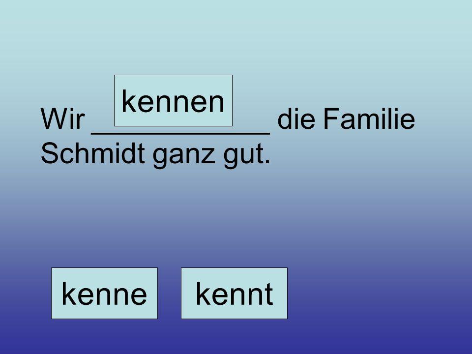 Wir ___________ die Familie Schmidt ganz gut. kennekennt kennen