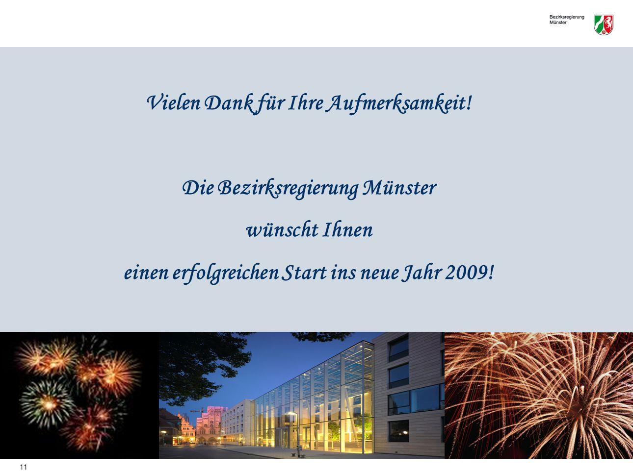 11 Vielen Dank für Ihre Aufmerksamkeit! Die Bezirksregierung Münster wünscht Ihnen einen erfolgreichen Start ins neue Jahr 2009!