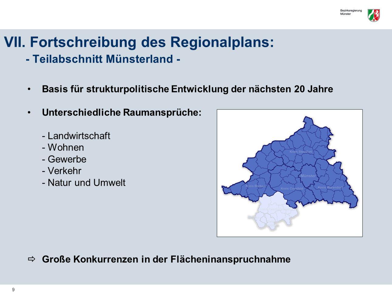 9 VII. Fortschreibung des Regionalplans: - Teilabschnitt Münsterland - Basis für strukturpolitische Entwicklung der nächsten 20 Jahre Unterschiedliche