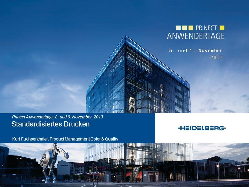 © Heidelberger Druckmaschinen AG Kurt Fuchsenthaler November 2013 12 Prinect Anwendertage Substrat1 – Premium gestrichen5 – Holzfrei ungestrichen white backing black backing white backing black backing Black (K)16 / 0 / 0 16 / 0 / 0 31 / 1 / 1 32 / 1 / 1 Cyan (C)56 /-36 /-51 55 /-35 /-51 60 /-25 /-44 58 /-24 /-44 Magenta (M)48 / 75 / -4 47 / 73 / -4 55 / 60 / -2 53 / 58 / -3 Yellow (Y)89 / -4 / 93 87 / -4 / 91 89 / -3 / 76 86 / -3 / 73 Red (M+Y)48 / 68 / 47 46 / 67 / 45 53 / 56 / 27 51 / 55 / 25 Green (C+Y)50 /-65 / 26 49 /-63 / 25 53 /-43 / 14 52 /-41 / 13 Blue (C+M)25 / 20 /-46 24 / 20 /-45 39 / 9 / -30 37 / 9 / -30 Gray (C+M+Y)23 / 0 / -1 23 / 0 / -1 35 / 0 / -3 34 / 0 / -3 Vollton-Färbungen (L*a*b*), Bogenoffset: D50, 2°, 0°/45° or 45°/0°, M1 empfohlen ISO 12647-2:2013