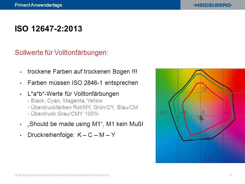© Heidelberger Druckmaschinen AG Kurt Fuchsenthaler November 2013 11 Prinect Anwendertage trockene Farben auf trockenen Bogen !!! Farben müssen ISO 28