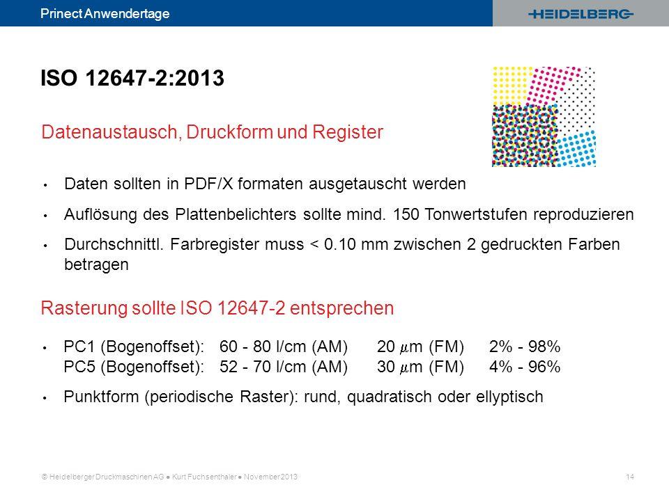 © Heidelberger Druckmaschinen AG Kurt Fuchsenthaler November 2013 14 Prinect Anwendertage Datenaustausch, Druckform und Register ISO 12647-2:2013 Date