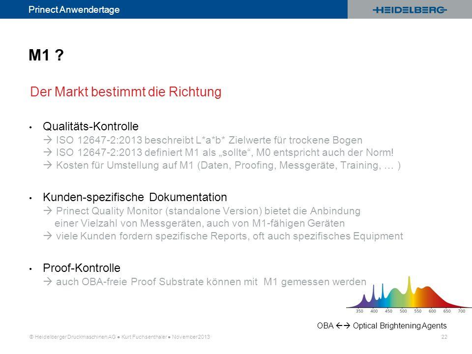 © Heidelberger Druckmaschinen AG Kurt Fuchsenthaler November 2013 22 Prinect Anwendertage Qualitäts-Kontrolle ISO 12647-2:2013 beschreibt L*a*b* Zielw