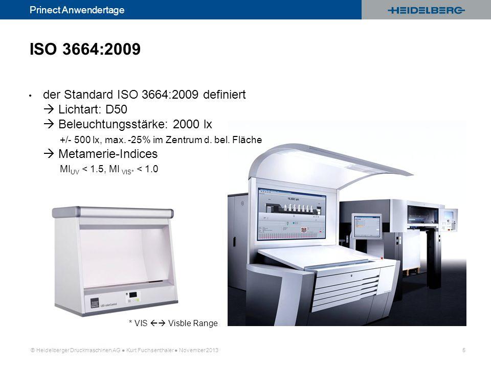 © Heidelberger Druckmaschinen AG Kurt Fuchsenthaler November 2013 5 Prinect Anwendertage ISO 3664:2009 der Standard ISO 3664:2009 definiert Lichtart: