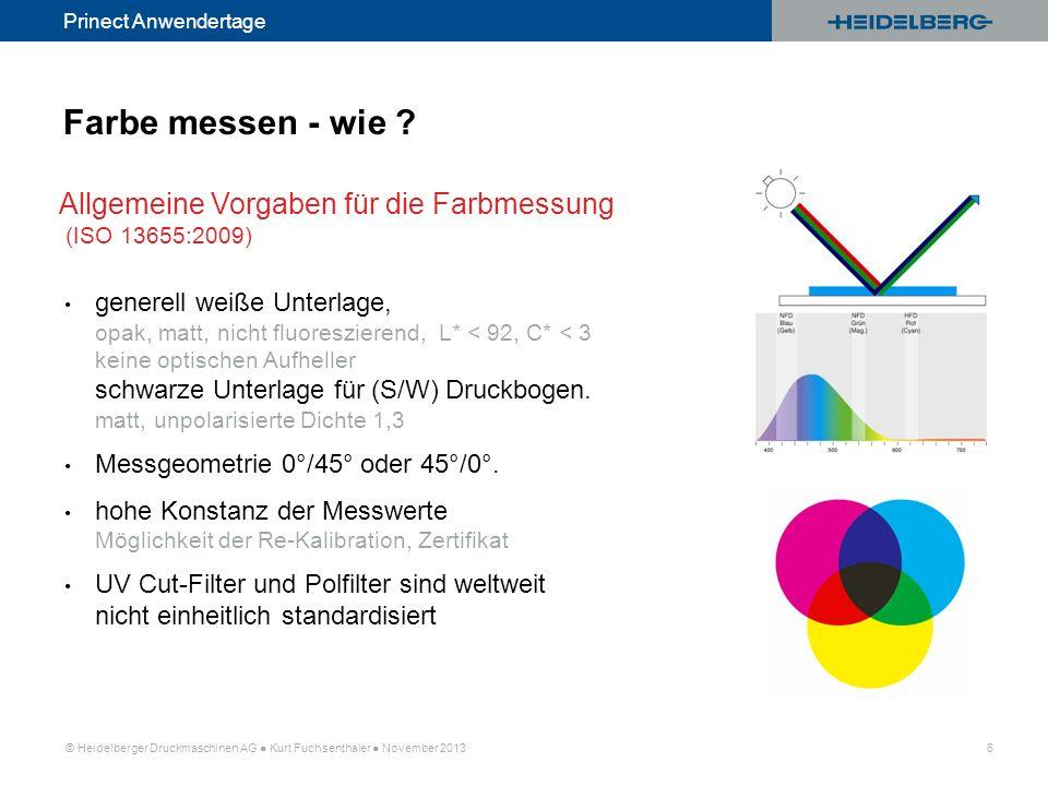 © Heidelberger Druckmaschinen AG Kurt Fuchsenthaler November 2013 6 Prinect Anwendertage generell weiße Unterlage, opak, matt, nicht fluoreszierend, L