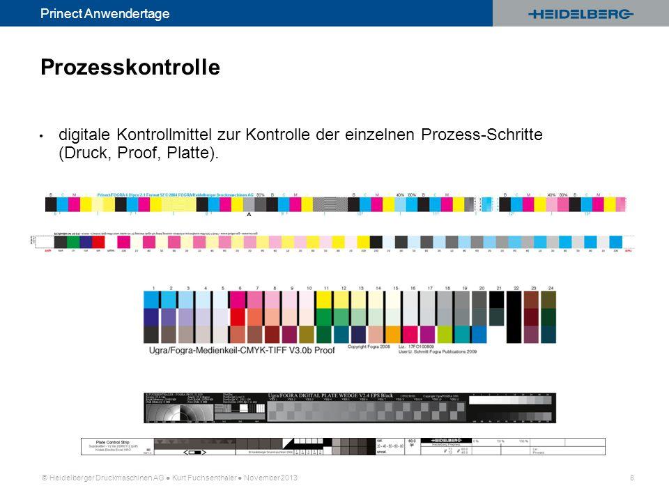 © Heidelberger Druckmaschinen AG Kurt Fuchsenthaler November 2013 8 Prinect Anwendertage Prozesskontrolle digitale Kontrollmittel zur Kontrolle der ei