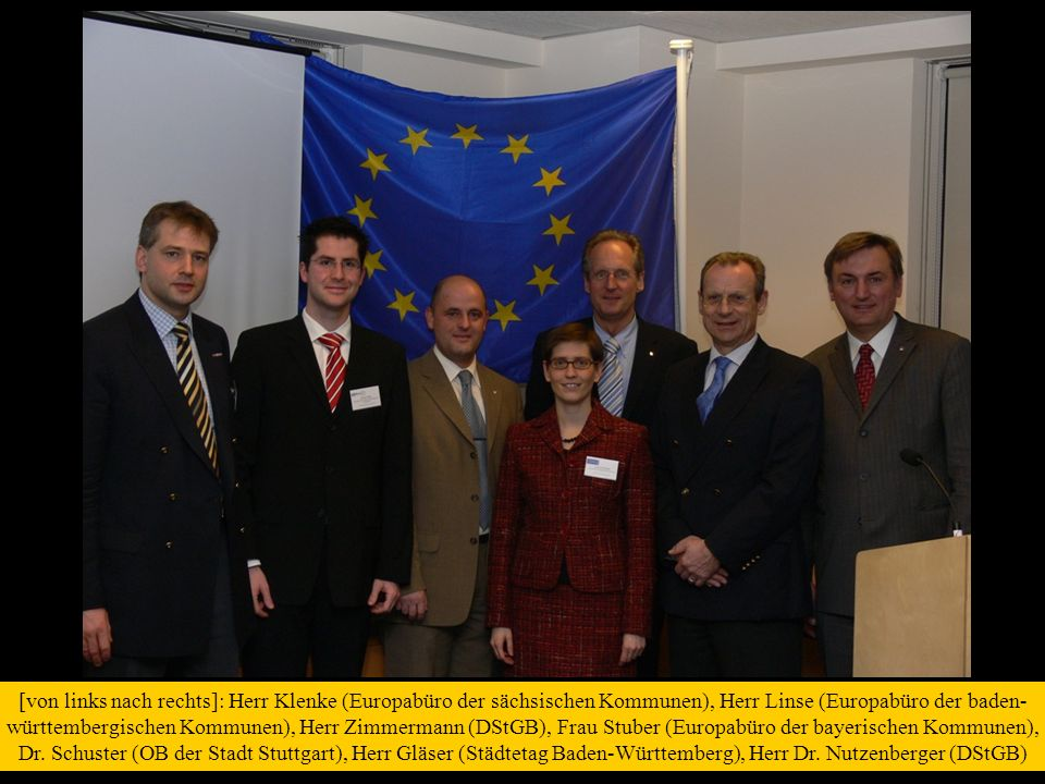 [von links nach rechts]: Herr Klenke (Europabüro der sächsischen Kommunen), Herr Linse (Europabüro der baden- württembergischen Kommunen), Herr Zimmermann (DStGB), Frau Stuber (Europabüro der bayerischen Kommunen), Dr.