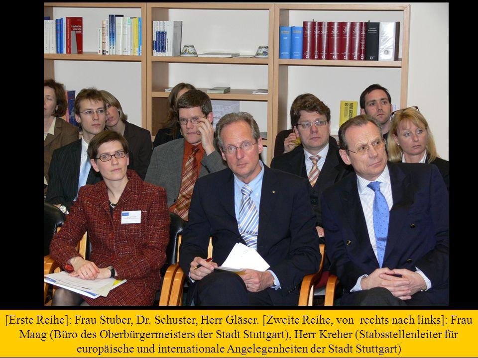 [Erste Reihe]: Frau Stuber, Dr. Schuster, Herr Gläser. [Zweite Reihe, von rechts nach links]: Frau Maag (Büro des Oberbürgermeisters der Stadt Stuttga