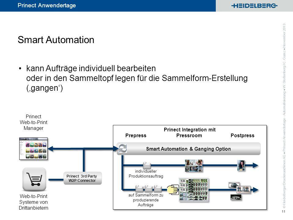 © Heidelberger Druckmaschinen AG Prinect Anwendertage Prinect Integration mit Prepress Pressroom Postpress kann Aufträge individuell bearbeiten oder i