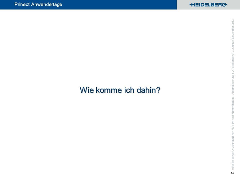 © Heidelberger Druckmaschinen AG Prinect Anwendertage Wie komme ich dahin? Prinect Anwendertage - Automatisierung W. Stoltenberg / C. Gumz November 20