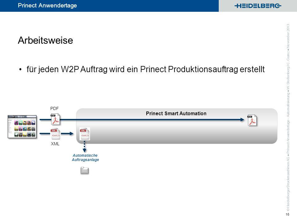 © Heidelberger Druckmaschinen AG Prinect Anwendertage Prinect Smart Automation Arbeitsweise für jeden W2P Auftrag wird ein Prinect Produktionsauftrag