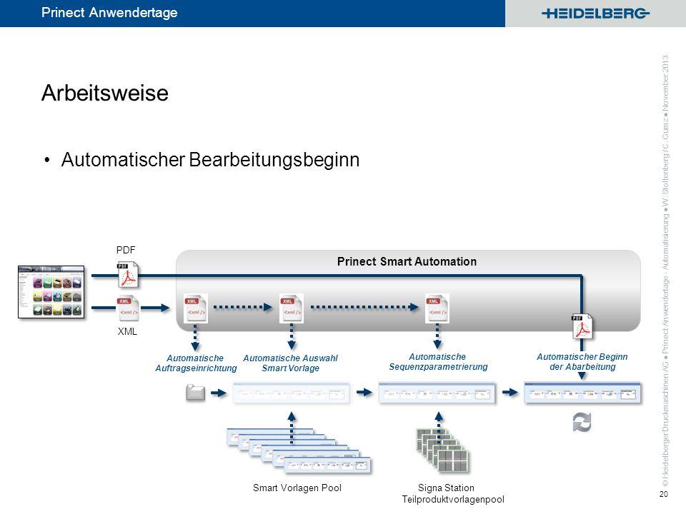 © Heidelberger Druckmaschinen AG Prinect Anwendertage Prinect Smart Automation Arbeitsweise Automatischer Bearbeitungsbeginn Prinect Anwendertage - Au