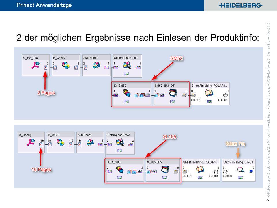 © Heidelberger Druckmaschinen AG Prinect Anwendertage 2 der möglichen Ergebnisse nach Einlesen der Produktinfo: Prinect Anwendertage - Automatisierung