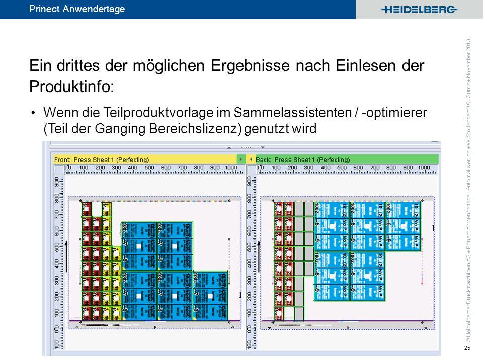 © Heidelberger Druckmaschinen AG Prinect Anwendertage Ein drittes der möglichen Ergebnisse nach Einlesen der Produktinfo: Wenn die Teilproduktvorlage