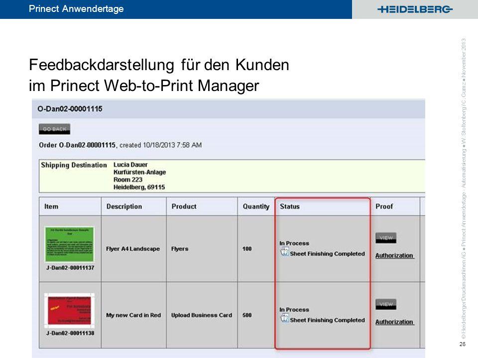 © Heidelberger Druckmaschinen AG Prinect Anwendertage Feedbackdarstellung für den Kunden im Prinect Web-to-Print Manager Prinect Anwendertage - Automa