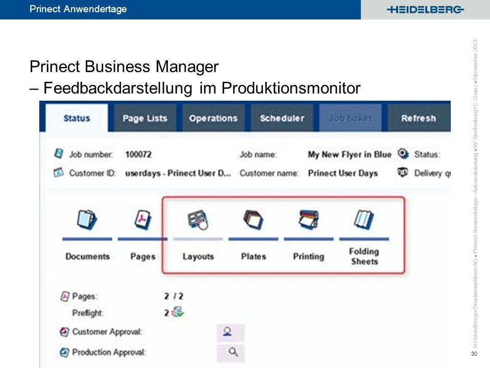 © Heidelberger Druckmaschinen AG Prinect Anwendertage Prinect Business Manager – Feedbackdarstellung im Produktionsmonitor Prinect Anwendertage - Auto