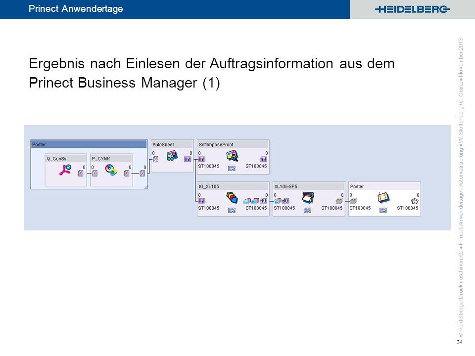 © Heidelberger Druckmaschinen AG Prinect Anwendertage Ergebnis nach Einlesen der Auftragsinformation aus dem Prinect Business Manager (1) Prinect Anwe