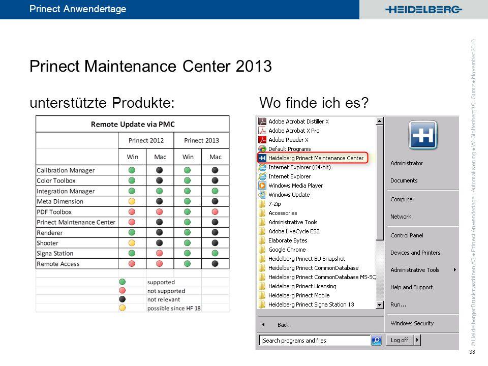 © Heidelberger Druckmaschinen AG Prinect Anwendertage Prinect Maintenance Center 2013 unterstützte Produkte:Wo finde ich es? Prinect Anwendertage - Au