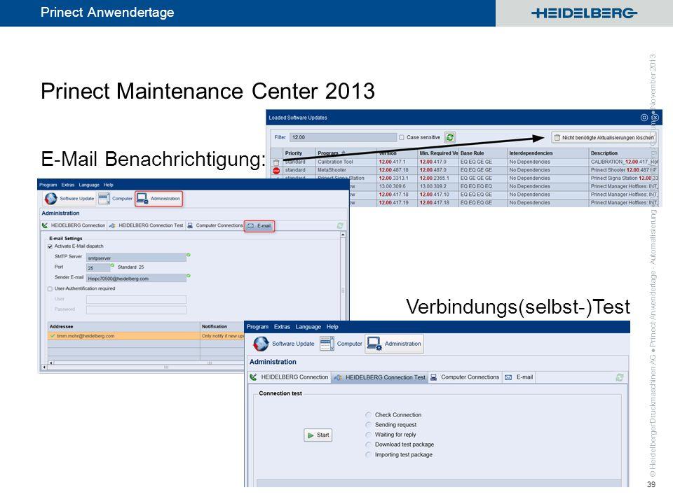 © Heidelberger Druckmaschinen AG Prinect Anwendertage Prinect Maintenance Center 2013 E-Mail Benachrichtigung: Verbindungs(selbst-)Test Prinect Anwend