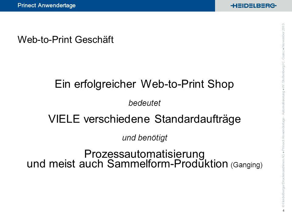 © Heidelberger Druckmaschinen AG Prinect Anwendertage Ein drittes der möglichen Ergebnisse nach Einlesen der Produktinfo: Wenn die Teilproduktvorlage im Sammelassistenten / -optimierer (Teil der Ganging Bereichslizenz) genutzt wird Prinect Anwendertage - Automatisierung W.