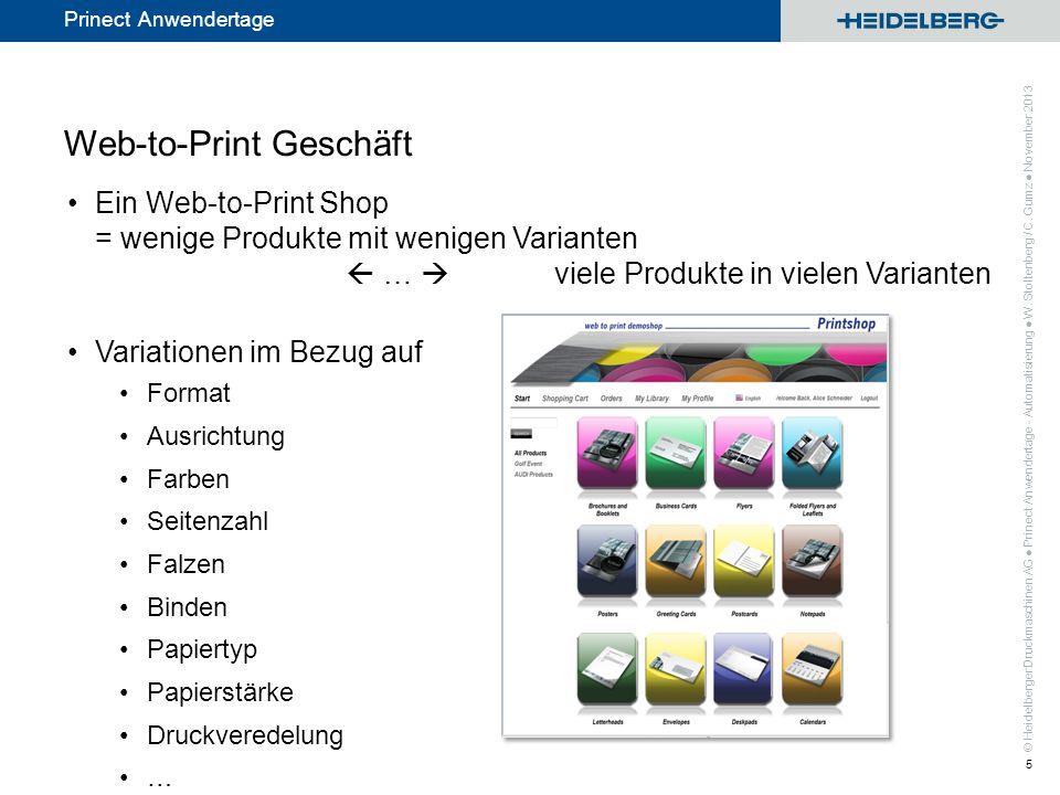 © Heidelberger Druckmaschinen AG Prinect Anwendertage Web-to-Print Geschäft Ein Web-to-Print Shop = wenige Produkte mit wenigen Varianten … viele Prod