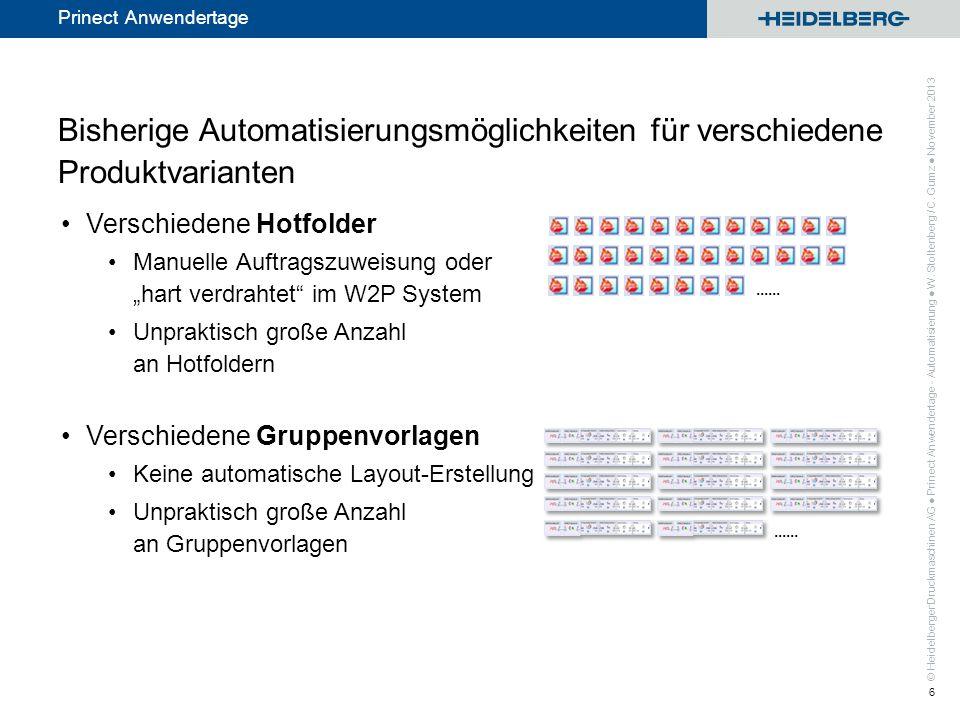 © Heidelberger Druckmaschinen AG Prinect Anwendertage Der smarte Weg: Smart Automation Automatische Auftragsanlage - mit Übernahme der Produktinfo und der Inhaltsdaten aus dem W2P System, Automatische Bearbeitung basierend auf W2P Produktinformation Kleine, handhabbare Anzahl von Smart Vorlagen Enthält Layouterstellung mittels Teilproduktvorlagen Keine Programmierung; kann von smarten Prinect Anwendern eingerichtet werden Prinect Anwendertage - Automatisierung W.