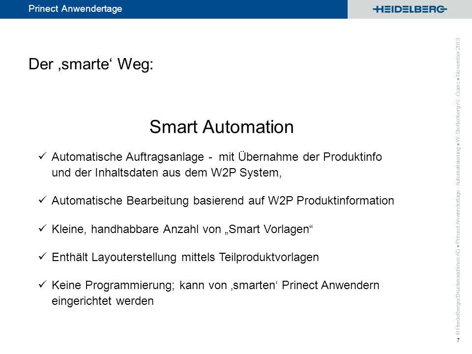 © Heidelberger Druckmaschinen AG Prinect Anwendertage Integration mit dem Prinect Web-to-Print Manager Anbindung von W2P Systemen anderer Anbieter (die 3rd Party W2P Connector spezifikationskonforme Dateien schreiben) Smart Automation Prinect Anwendertage - Automatisierung W.