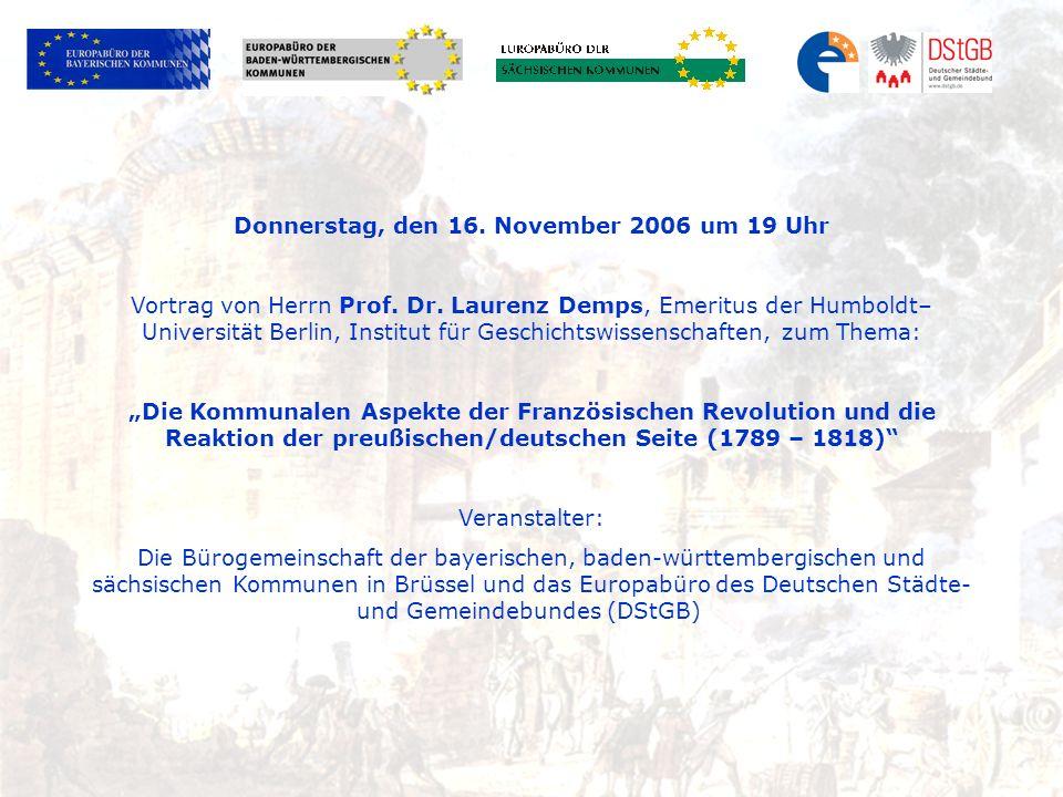 Donnerstag, den 16. November 2006 um 19 Uhr Vortrag von Herrn Prof.