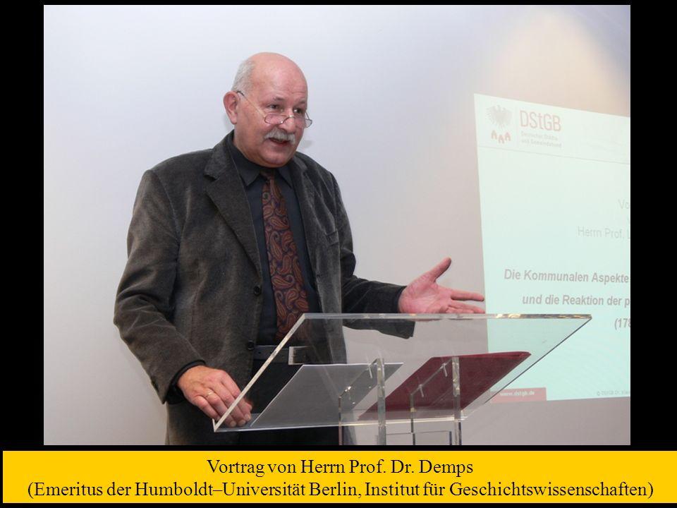 Vortrag von Herrn Prof. Dr.