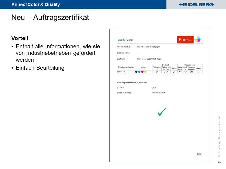 Prinect Color & Quality © Heidelberger Druckmaschinen AG Neu – Auftragszertifikat 10 Vorteil Enthält alle Informationen, wie sie von Industriebetriebe