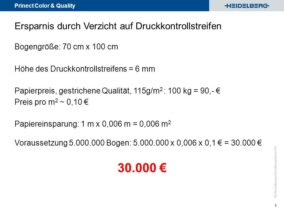 Prinect Color & Quality © Heidelberger Druckmaschinen AG 5 Ersparnis durch Verzicht auf Druckkontrollstreifen Bogengröße: 70 cm x 100 cm Höhe des Druc